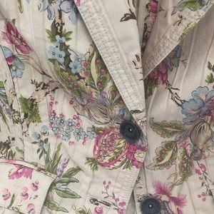 Nine West Weekend Cotton Denim Floral Crop Jacket